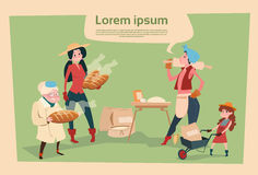 Farmer Country Woman Cooking Bread Agriculture Cartoon Character Stock Photos