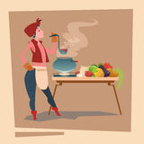 Farmer Country Woman Cooking Dinner Cartoon Character Royalty Free Stock Photo