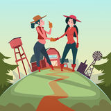 Farmer Country Woman Hand Shake Agriculture Farmland Background Royalty Free Stock Image