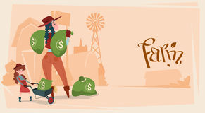 Farmer Country Woman Hold Big Money Sack Success Agriculture Business Stock Images