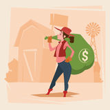 Farmer Country Woman Hold Big Money Sack Success Agriculture Business Stock Photography