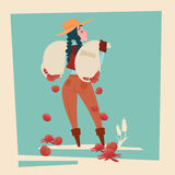 Farmer Country Woman Hold Sack With Tomato Falling Down Cartoon Character Royalty Free Stock Photography