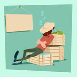 Farmer Countryman Sleeping On Vegetable Boxes Stock Images