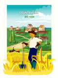 Farmer In The Countryside Background Poster Royalty Free Stock Images