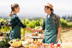 Farmer couple shaking hands with each other stock image