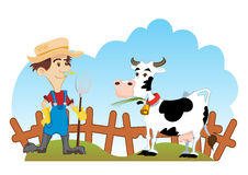 Farmer and cow. Country scene with farmer and cow Royalty Free Stock Image