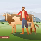 Farmer With Cow Flat Composition. Smiling farmer with bucket near spotted cow on green pasture on mountain background flat composition vector illustration Stock Image