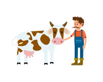 Farmer with cow isolated vector icon. Farmer with cow vector illustration isolated on white background. Cute cattle farm, domestic livestock in cartoon style Royalty Free Stock Photo