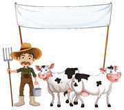 Farmer and cows Stock Photo