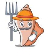 Farmer cute shell character cartoon Royalty Free Stock Photography