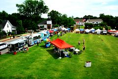 Farmer& x27 de la communauté de petite ville ; marché de s Images stock