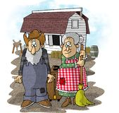 Farmer in the dell. This illustration that I created depicts a farmer and his wife standing in front of a barn Stock Image