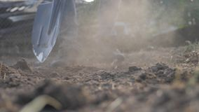 Farmer digging the ground with a shovel garden spade close-up. slow motion video. man lifestyle farmer working in the stock video footage