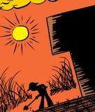 Farmer Digging Silhouette Stock Photo