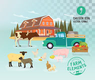Farmer domestic animals set  on transparency background. Cartoon rural cattle collection. Royalty Free Stock Photo