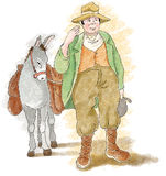 Farmer with donkey Royalty Free Stock Photos