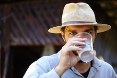 Farmer drinking water outdoor Stock Photo