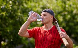 Farmer drinking water royalty free stock image