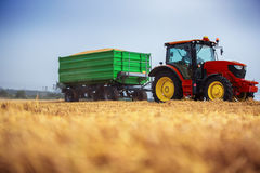 Farmer driving agricultural tractor and trailer full of grain Royalty Free Stock Photos