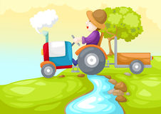 Farmer driving a car Stock Images