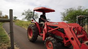 Farmer driving red tractor stock video footage
