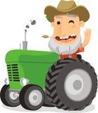 Farmer driving tractor. Cartoon illustration Royalty Free Stock Image