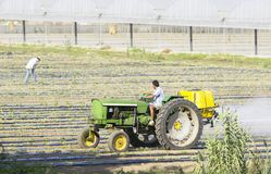 Farmer spraying isecticed on a field. Farmer driving a tractor and preparing a field for the season Stock Photography
