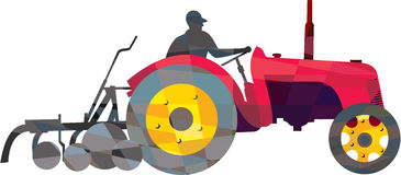 Farmer Driving Vintage Farm Tractor Low Polygon Royalty Free Stock Images