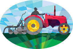 Farmer Driving Vintage Farm Tractor Oval Low Polygon Stock Photos