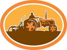 Farmer Driving Vintage Farm Tractor Oval Retro Royalty Free Stock Photography