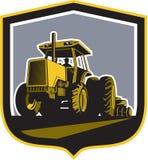 Farmer Driving Vintage Farm Tractor Plowing Retro Stock Image