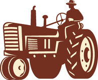Farmer Driving Vintage Tractor Retro Royalty Free Stock Photo
