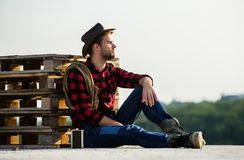 Free Farmer Enjoy View From His Farm. Romanticism Of Western Culture. Farmer In Hat Sit Relax. Peaceful Mood. Watching Sunset Royalty Free Stock Image - 160670796