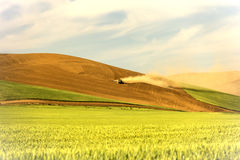 Farmer Equipment Working Unplanted Wheat Fields Stock Image