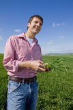 Farmer examining young wheat crop Royalty Free Stock Photo