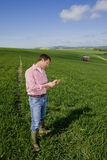 Farmer examining young wheat crop with fertilizing tractor in background Royalty Free Stock Photos
