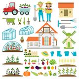 Farmer family and farm icons gardener family characters farmers with various plants healthy organic food vector Stock Photography
