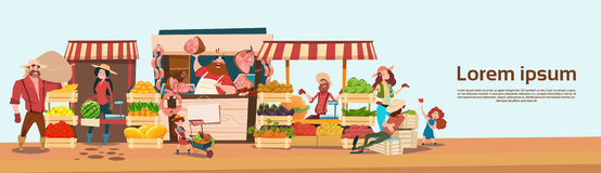 Farmer Family Sell Harvest Products Grocery On Eco Farm Organic Market Seasonal Sale. Flat Vector Illustration Stock Photo