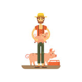 Farmer with fanny pig . carton illstration of farming Royalty Free Stock Image