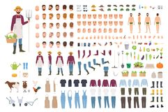 Farmer, farm or agricultural worker constructor or DIY kit. Set of male character body parts, facial expressions. Clothes, working tools isolated on white stock illustration