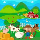 Farmer and farm animals on the farm Royalty Free Stock Photo