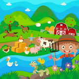 Farmer and farm animals in the farm Royalty Free Stock Images