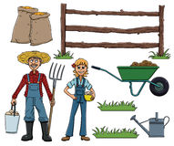 Farmer Farm Cartoon Set. Illustration of cute farmers and farming equipment Royalty Free Stock Photography