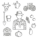 Farmer or farm worker profession sketch. Sketch of farmer or farm worker with tractor, barn, fresh tomatoes, eggplant, pumpkin, corn and pepper vegetables, cow Stock Images