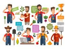 Farmer or farming, gardening icons set. vector illustration Stock Images