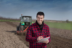 Farmer on the farmland Royalty Free Stock Image