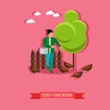 Farmer feeds the chickens, flat design Stock Photos
