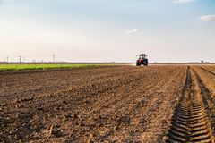 Farmer fertilizing arable land with nitrogen, phosphorus, potassium fertilizer. Agricultural activity Royalty Free Stock Image