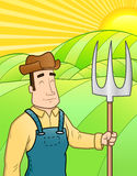 Farmer in the field. This is an illustration of a farmer standing in his field Royalty Free Stock Photography