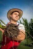 Farmer in field Stock Image